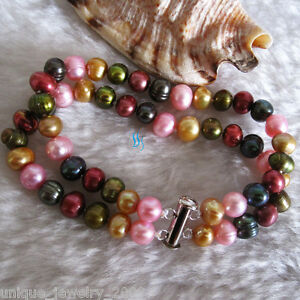 """8"""" 6-8mm Multi Color Freshwater Pearl Bracelet 2Row M15A"""