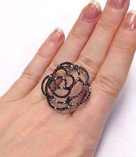 Wow! Large 18K 750 White Gold Sparkling Black Diamond Floating Rose Outline Ring