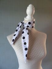 Black and white polka dot hair scarf, spotted headband,retro polka dot hair wrap