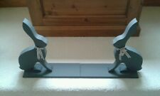 Hand Made Grey Wooden Hare Book Ends By Carol Ridler
