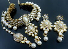 PEARL KUNDAN CZ PEARL GOLD TONE INDIAN TRADITIONAL CHOKER NECKLACE SET JEWELRY