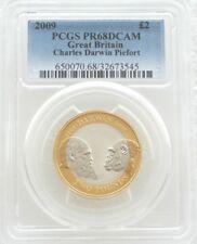 2009 Charles Darwin PIEDFORT £ 2 Due Pound Argento Proof moneta PCGS PR68 DCAM