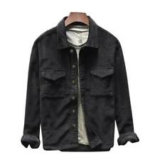 Men Vintage Coat Corduroy Denim Short Jacket Casual Open Front Lapel Top Outwear