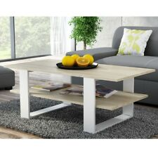 Large Coffee Table Light Oak and White. Two tiers - large shelf. Modern Design.