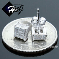 MEN WOMEN 925 STERLING SILVER 5MM LAB DIAMOND ICED 3D STUD EARRING*E104