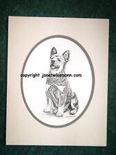 FINE-ART PRINT, w/ oval mat, Australian Cattle Dog Blue Red Heeler Puppy drawing