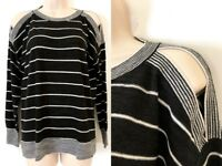 NWT Loft Women's Striped Black White Cold Shoulder Knit Sweater XS S M L XL
