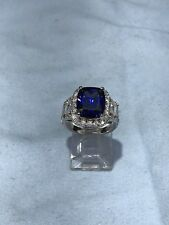 Women's 3CT Cushion Blue Sapphire White Topaz 925 Sterling Silver Ring Size 7.25