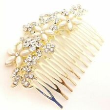 New Gold Tone Crystal Pearl Flower Bouquet Bridal Prom Hair Comb