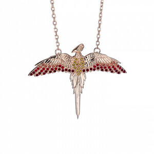 Harry Potter Fawkes Rose Gold Plated Necklace in Sterling Silver with Crystals