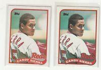 CANDY SIERRA 1989 Topps #711 Error/Variation Light/Dark Banner Reds 2 Versions