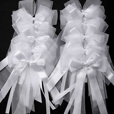 10 WHITE PEW Bowknot SATIN Organza WEDDING CHURCH CHAIR PARTY DECORATIONS