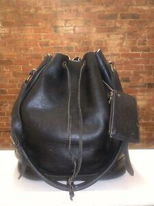 Vtg Louis Vuitton Black Leather Bucket Shoulder Bag