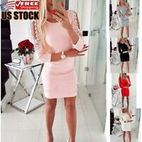 Women's Party Sexy Bodycon Dress Cold Shoulder Mini Jumper Tops Dresses Sweater