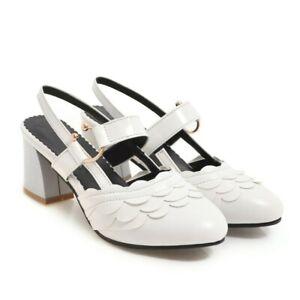 Spring New Ladies Block Heels Slingbacks Pumps Slip on Casual Dress Shoes UK SZ