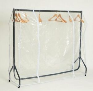 6FT ROBUST BLACK CLOTHES RAIL +PLASTIC COVER DISPLAY RETAIL SHOP FITTINGS