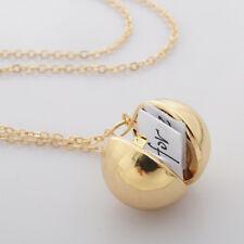 Chic Ball Locket Necklace Suspensions Friendship Women Men Lover Gifts OL Gold