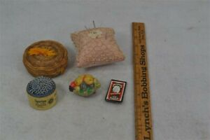 antique sewing basket pincushion needles pins retractable fruit tape measure