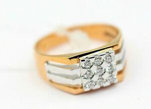18K Rose Gold Natural Diamond Men's Engagement Ring IGI Certified Size 8 US