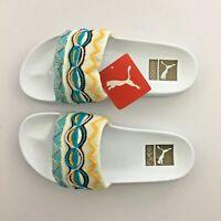 Puma Leadcat Coogi Slides Sandals 367508 01 White Gold Multi Women's Size 9.5