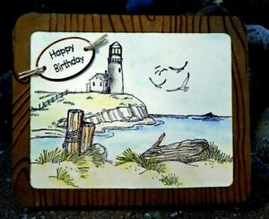Lighthouse RETIRED L@@k@ examples Art Impressions Rubber Stamps