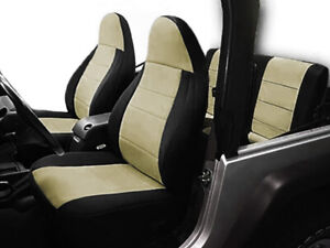 Jeep Wranglar TJ 1997-2002 Wetsuit Neoprene Seat Cover Set: Front & Rear - Tan
