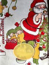 Vintage Christmas Hallmark Table Cloth New in Pack Santa Elves Tree Birds Retro