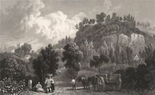 Montgomery, Wales, by Henry Gastineau 1835 old antique vintage print picture