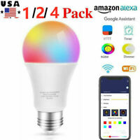 1/2/4 Pack Wifi Smart LED Light Bulb E26 850LM RGB Dimmable for Alexa/GoogleHome