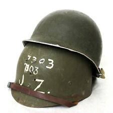 WWII M1 HELMET MCCORD SWIVEL BALE LOOPS FRONT SEAM LINER OD3 STRAPS IDED