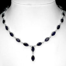 VERY RARE REAL 12x6mm/26pcs RICH BLUE VIOLET IOLITE STERLING 925 SILVER NECKLACE