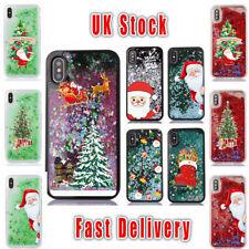 Christmas Glitter Liquid Hard Phone Case Cover iPhone X 5 5S 6 6S 7 8 Plus