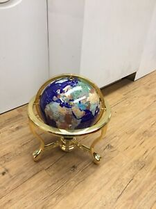 Lapis/Brass Gemstone World Globe Semi Precious Stone Inlaid Compass In Stand