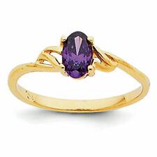 14k Yellow Gold Amethyst Ring - Size 7