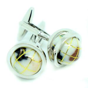Globe Cufflinks Luxury White Rotating Circular Mens Wedding Pair Cuff Links