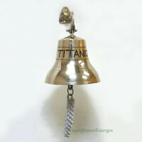 "Solid Brass ""Titanic"" Ship's Bell 6"" Nautical Maritime Hanging Wall Decor New"