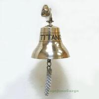 "Solid Brass ""Titanic"" Ship's Bell 6"" Nautical Maritime Wall Decor New"