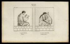 CITHARISTE JOUEUR DE CITHARE Gravure du 19eme siecle