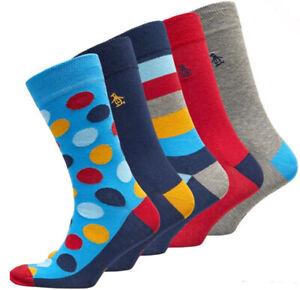 Original Penguin Mens Five 5 Pack Socks Navy/Grey/Red Uk 7-11 rrp £29.99