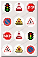 12 Traffic Signs Edible Cupcake Image Icing Birthday Decoration Toppers