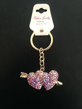 Fab 'Diamond Hearts/Arrow Handbag Key Ring/Bag Charm/Gift/Birthday/Friend BNWT