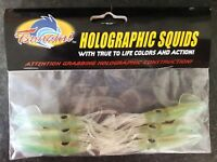 """Tsunami Soft Holographic Squids (Chartreuse/Clear, 3"""")"""