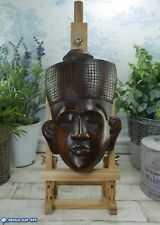 More details for balinese indonesian face mask vintage wood carving wall plaque