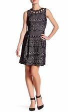 ELIZA J Black Women's Size 12 SLEEVELESS LACE CUTOUT DRESS