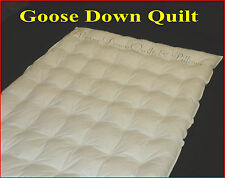 DOWN QUILT SUPER KING GOOSE DOWN DUVET 2 BLANKET SUMMER WEIGHT 100% COTTON COVER