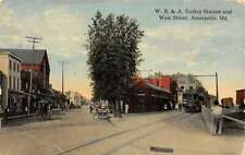 Annapolis Maryland W. B. & A.  Trolly Station and West Street antique pc DD7075