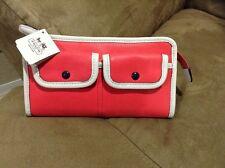 NEW Coach Legacy Two Tone  Leather Zippy Wallet Coral/Snow HTF W/Tag $158 Retail