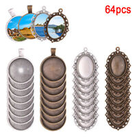 64pcs/set Round Oval Pendant Trays with Glass CabochonS.r