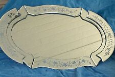"Vintage Vanity Tray Oblong Mirror Glass with Flower Design 19.5"" Length"
