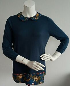 Oasis blue faux shirt effect jumper UK size M